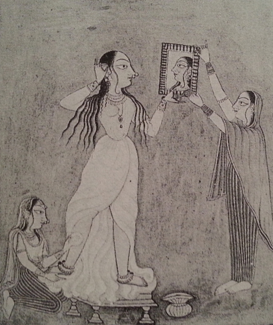 Woman at the Mirror, Pahari miniature painting (tempera on paper), c. 1730.